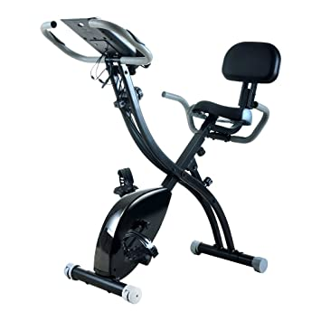 Plegable Vertical bicicleta ejercicio Magnético hogar con respaldo reposabrazos máquina de remo, color negro