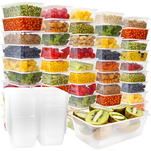 Price comparison product image Plastic Food Storage Containers with Lids - Disposable Plastic Food Containers Meal Prep Containers Food Prep Freezer Containers with Lids [50 Pack]