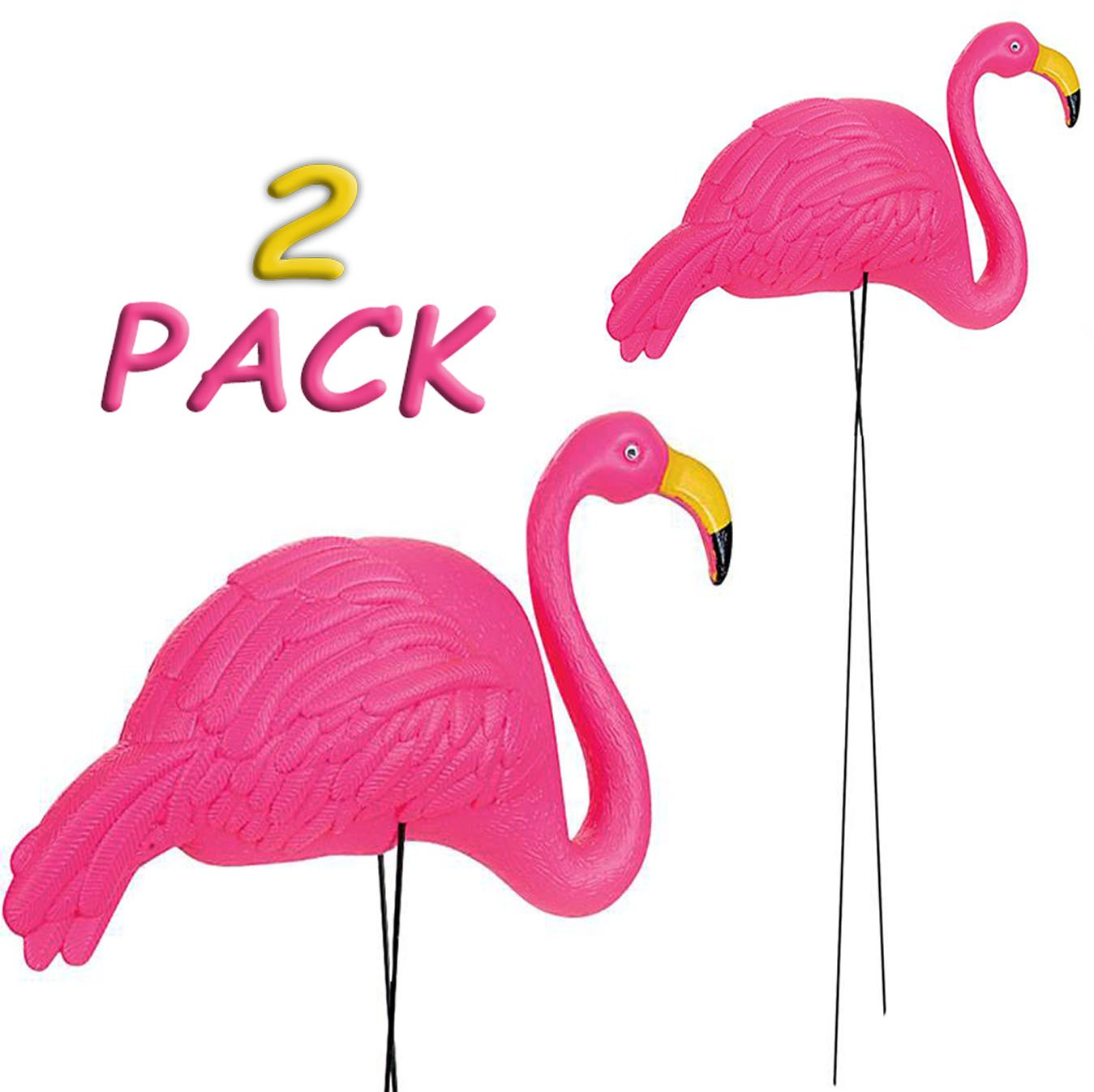 4E's Novelty Pack of 2 34'' Flamingo Yard Lawn Ornaments, Large Bright Pink Flamingos Outdoor Decor, By