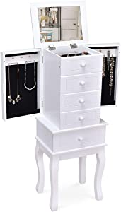 HOMGX 5 Drawers Armoire Cabinet, Standing Storage Chest with Top Mirror, 14 Necklace Hooks Wooden Organizer, Christmas Extra Capacity Jewelry Furniture, White