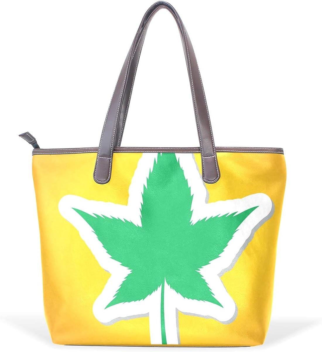 DEZIRO - Bolso de mano con diseño de hojas de marihuana