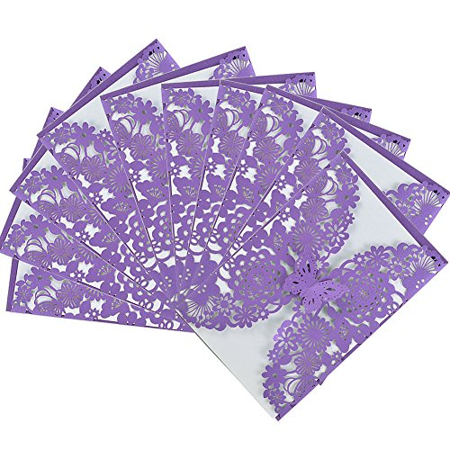 50 Pcs Vintage Laser Cut Butterfly Floral Hollow Wedding Invitations Cards Set Kit for Wedding Engagement Bridal Birthday Party Favors, Purple