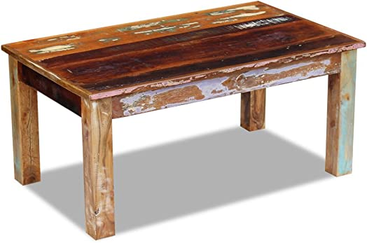 Festnight Rustic Coffee Table Reclaimed Wood Sofa and Couch End Side Table