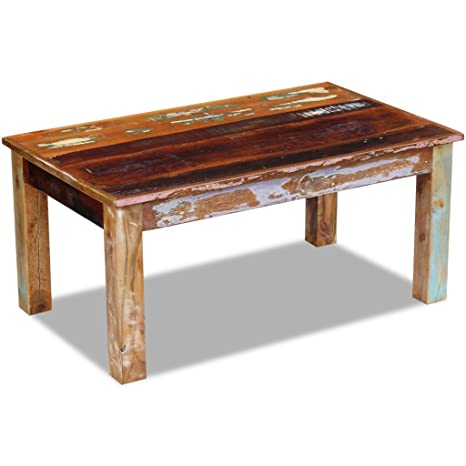 Festnight Rustic Coffee Table Reclaimed Wood Sofa and Couch End Side Table  for Living Room Home Furniture (Rectangle)