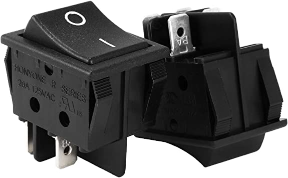 uxcell DPST 4Pin 2 Position I//O Boat Rocker Switch Black AC 20A//125V 22A//250V