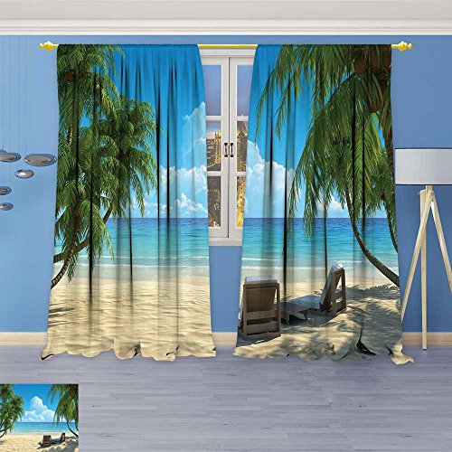 SOCOMIMI Bedroom Blackout Curtains Panels Window,depositphotos stocktwo beach chairs on idyllic Treatment Thermal Insulated for Living Room, 84W x 72L Inch