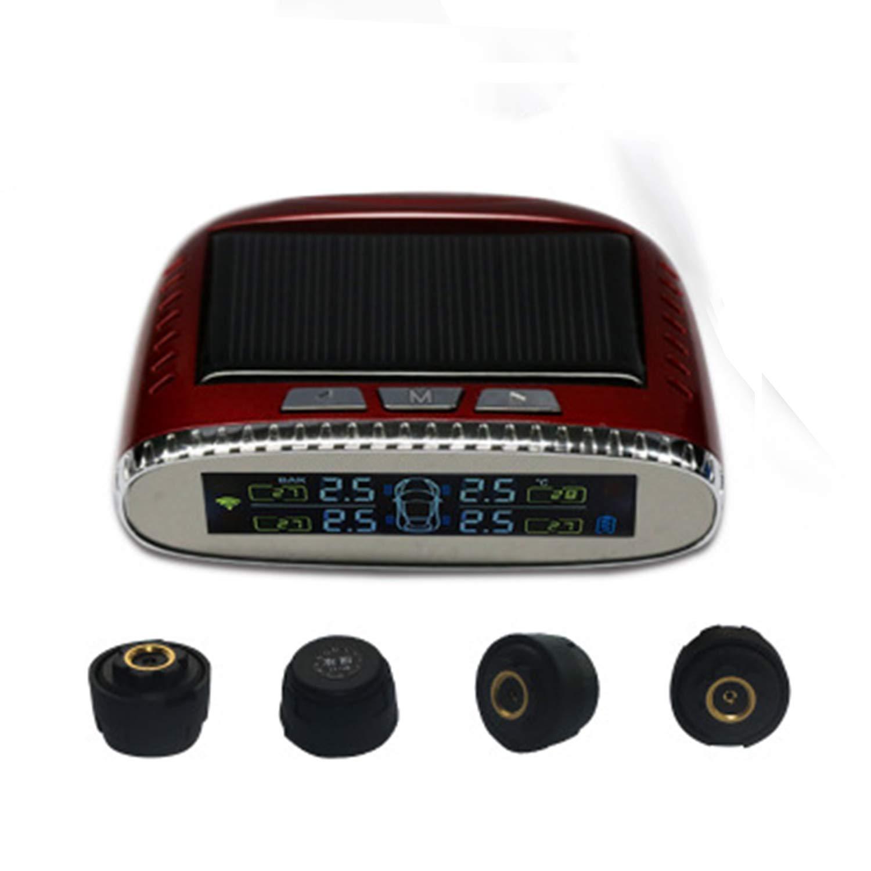 HEIFEN LCD Display High Precision Car Tire Pressure Monitor External Car Tire Pressure Gauge Solar USB Dual Charging Mode Red Wireless Monitor