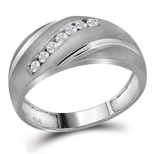Diamond2Deal Hombre Unisex Mujer 10 quilates oro blanco de 10 quilates redonda IJ diamante blanco