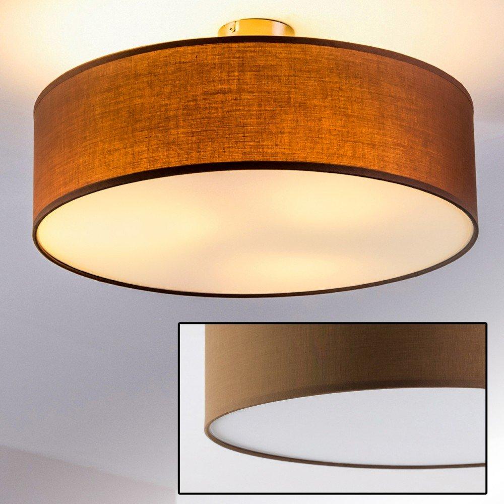 Plafoniera circolare paralume in tessuto marrone design moderno