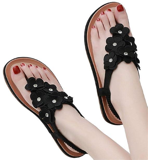 9b163179dfba3 Amazon.com: Flat Sandals Women Flip Flops Slippers Beach Shoes Boho ...