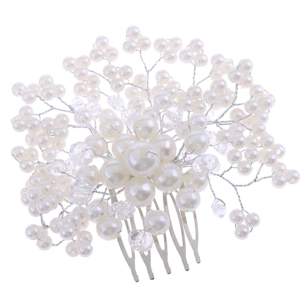 Blesiya Elegant Rhinestone Pearls Hair Comb Wedding Pageant Headdress Photo Prop