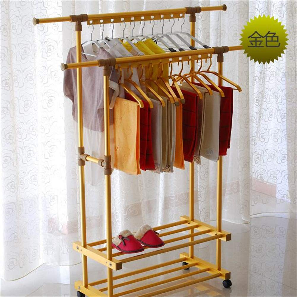 Balcony Drying Rack Indoor Aluminum Lifting L Cool Hanger Floor Folding Thick Double Pole Clothes Pole,Gold by YIN QM (Image #1)