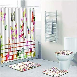 Bathroom Non Slip Rug Mat Set of 4 - Butterfly Print Toilet Lid Cover Bathroom Rug Contour Mat Absorbent Mat Bathroom Shower - No Smell Washable Anti-Slip