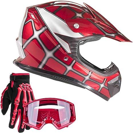 + Goggles } Red Leopard Kids Children Motorbike Motocross Set { CAMO Suit L 9-10 Yrs 49-50cm + Helmet /& Gloves S