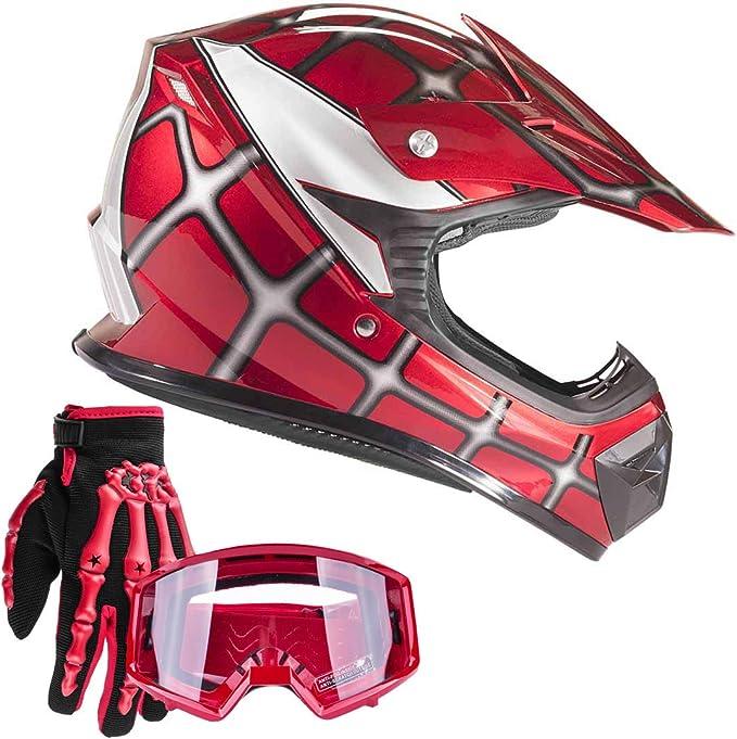 TCT-MT Red Spider DOT Youth Helmets w//Goggles+Gloves Kids Net Motocross Dirt Bike Helmet ATV MX Helmet+Gloves+Goggles XL