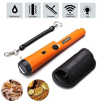 FLOUREON Detector de Metal Impermeable Niños Monedas Buscador Profesional Pinpunter 360 Escaneo Buzzer con Indicador LED