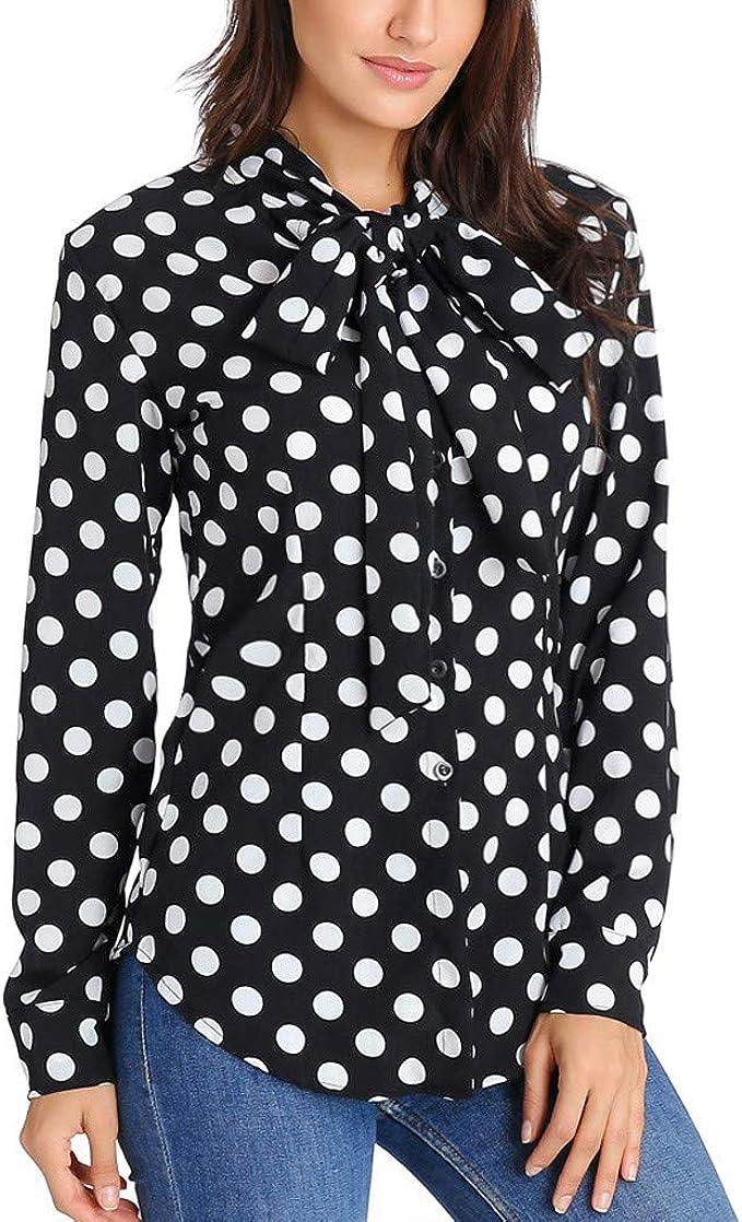 Beikoard_Ropa de mujer Camisa Estampada Ola Primavera y otoño, modaCamiseta de Manga Larga a Lunares camisetatops T-Short S-XXL: Amazon.es: Ropa y accesorios