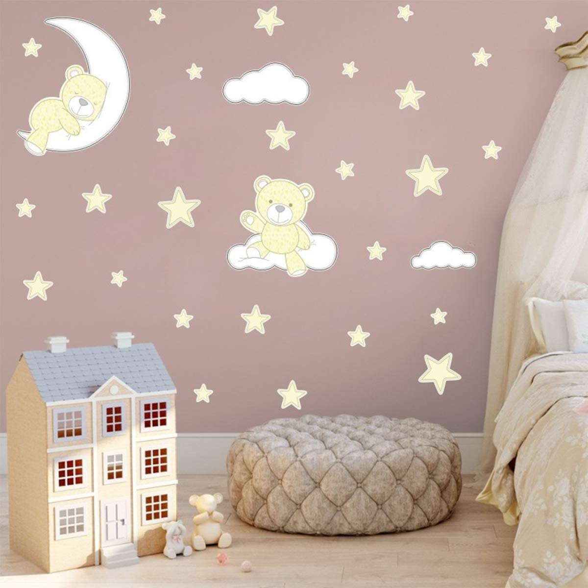 VIIRY Cartoon Cute Bear Sleeping on Moon Stars Sticker Decals,Peel and Stick Removable Wall Stickers for Kids Nursery Bedroom Living Room,18.9 x14.2inch (Gold)