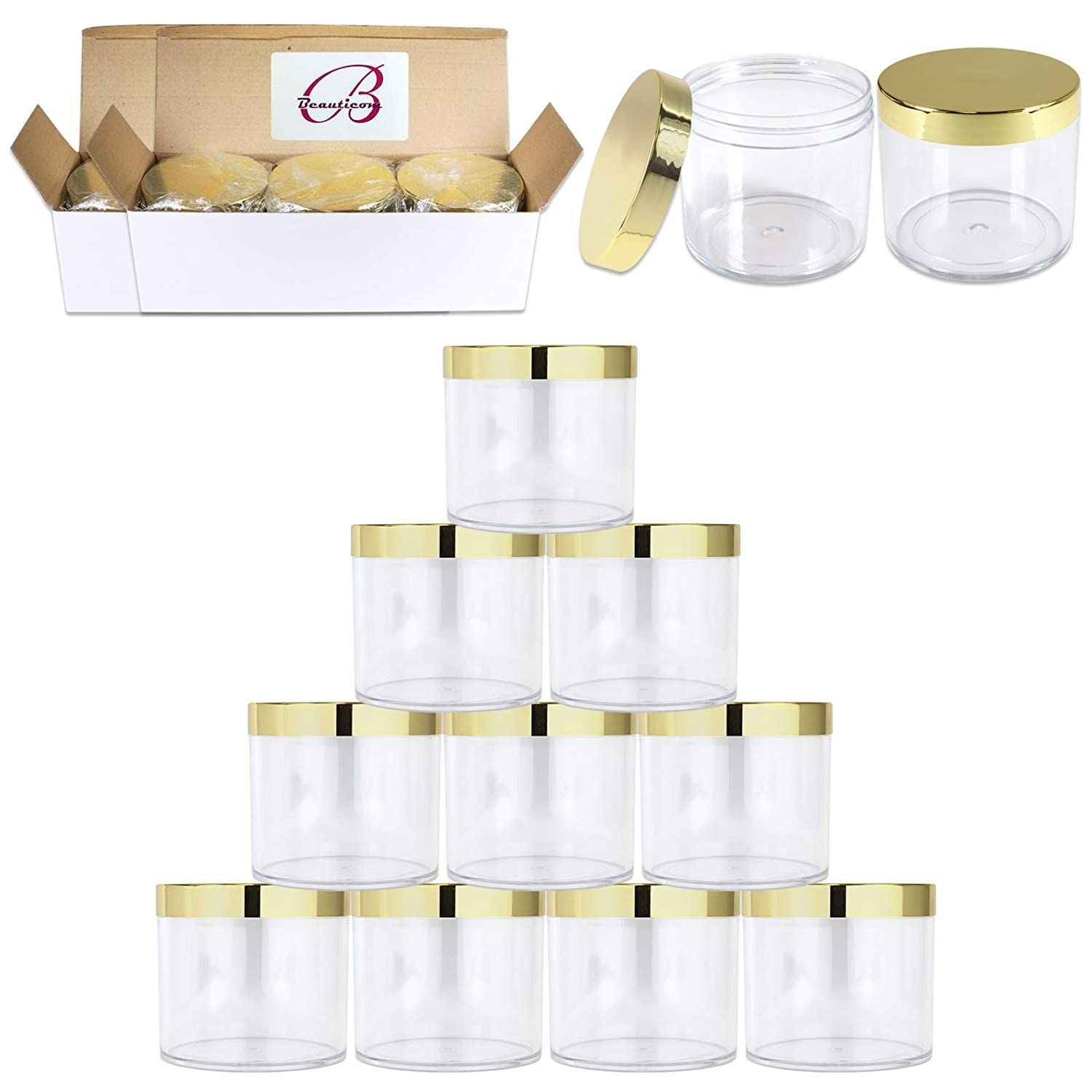 Beauticom 10 oz. 300g 300ML Thick Wall Round Leak Proof Clear Acrylic Jars with CLEAR Lids for Beauty, Cream, Salves, Scrubs 36 Pieces Jars Lids, GOLD