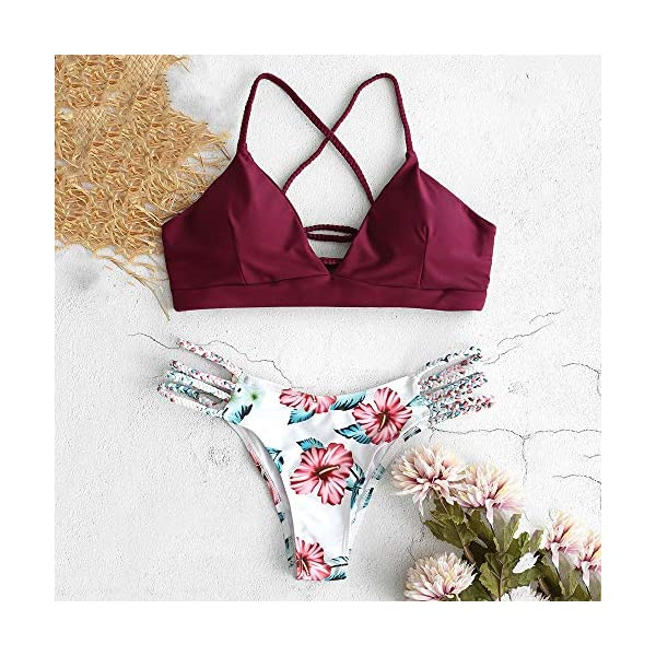 ZAFUL - Bikini da donna, imbottito, con motivo floreale, 2 pezzi 4 spesavip