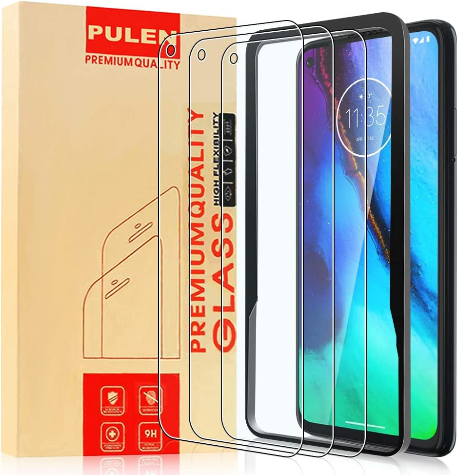 [3-Pack] PULEN Tempered Glass for Motorola Moto G Stylus Screen Protector,HD Clear Scratch Resistant Bubble Free Anti-Fingerprints 9H Hardness with Easy Installation Tray