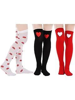 ecf1ca3c30c Sweet Red Bow Thigh High Socks Knee Socks Love Heart Pattern Long Sheer  Stockings Black ·  3.13 -  3.49 · Blulu 3 Pairs Valentine s Day Socks Love  Heart ...