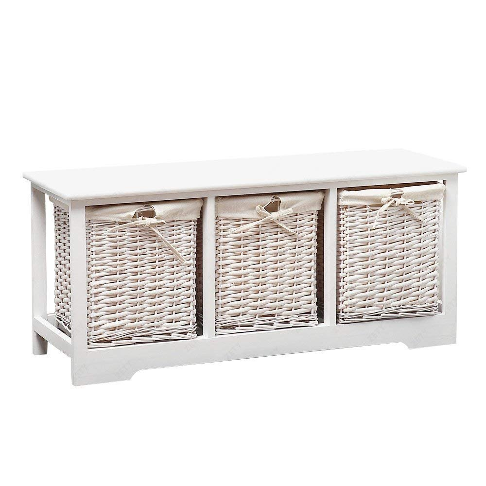 Mecor Wood Storage Bench with 3 Wicker Baskets,Entryway Furniture,Large Rectangular/White