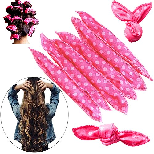SYQ 20Pcs Magic Pillow Cloth Hair Roller Flexible Foam Sponge No Heat Nighttime Hair Curlers DIY The Sleep Styler No Harm Night Hair Rollers Styling Tool For Women-Pink (Hot Curlers For Thick Hair)