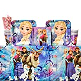 Cedar Crate Market Bundle Disney Frozen Magic Party Supplies Pack for 16 Guests - Straws, Dinner Plates, Luncheon Napkins, Table Cover, and Cups