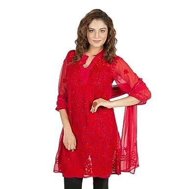 0876895c55 nAzAqAt Lucknow Georgette Kurti Kurta base color red with fine ...