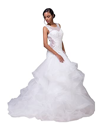 d8245396e4bc LORIE Mermaid Wedding Dresses Lace Ruffles Organza White Bridal Dress  Wedding Gown (Ivory, 2