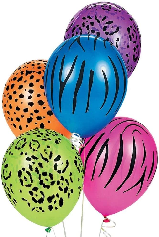 "25 x 11/"" Neon Safari balloons assorted designs//Colours"