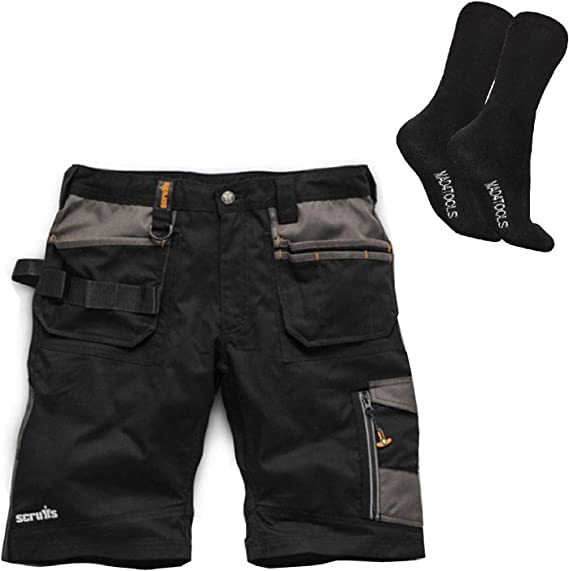 Scruffs Trade Work Shorts Grey Black Multiple Pockets Hardwearing Combat Cargo