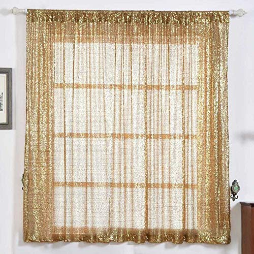- Efavormart 2 Panels Gold Glitzy Sequin Room Darkening Window Treatment Panel Drapes with Rod Pockets 52