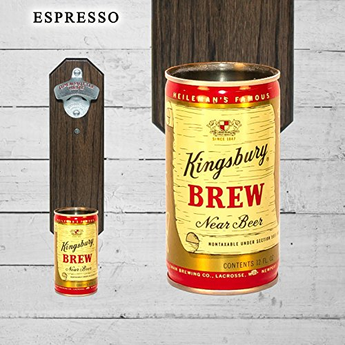 Wall Mounted Bottle Opener with Vintage Kingsbury Near Beer Can Cap Catcher