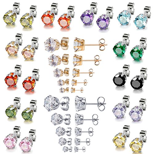 22 Pairs Stainless Steel Post 4mm 5mm 6mm 7mm 8mm Brilliant Cut Round Cubic Zirconia Birthstone CZ Stud Earrings for Women girls boys men