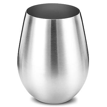 Copa de vino de acero inoxidable (tamaño grande), elegante, sin tallos (500 ml), copa de metal irrompible e irrompible