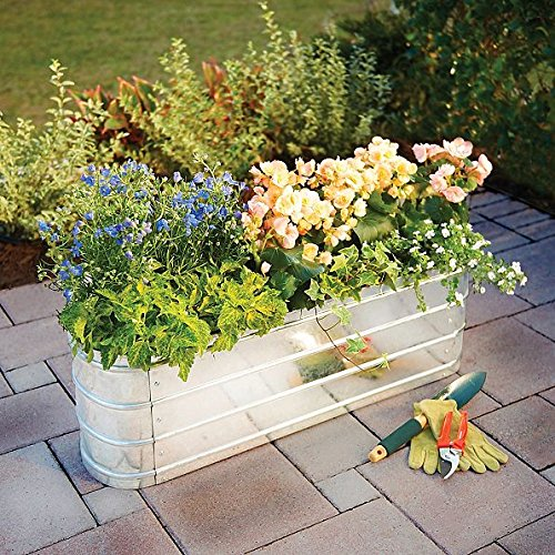 DermaPAD Oval Iron Metal Garden Bed with Liner - 36'' x 18'' x 12'' by DermaPAD