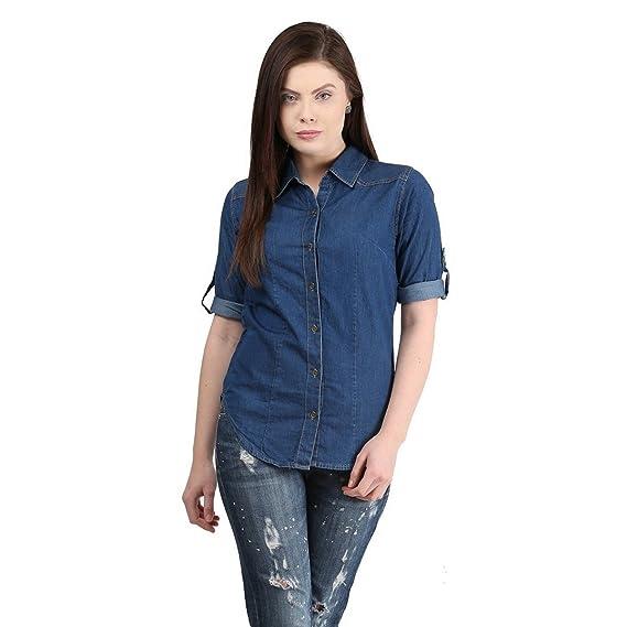 2bf4637c28 DIMPY GARMENTS BuyNewTrend Denim Shirt for Women Girls  Amazon.in ...