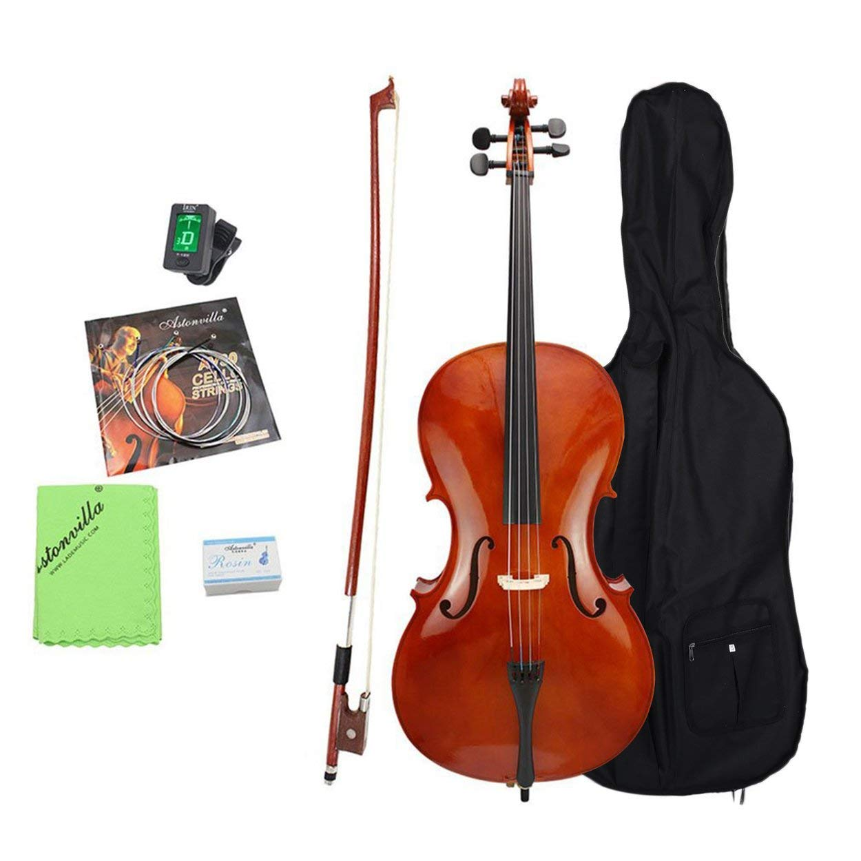 Professional 4/4 Cello Set Student Acoustic Bridge Full Size Cello With Storage Bag For Cello Beginner Students