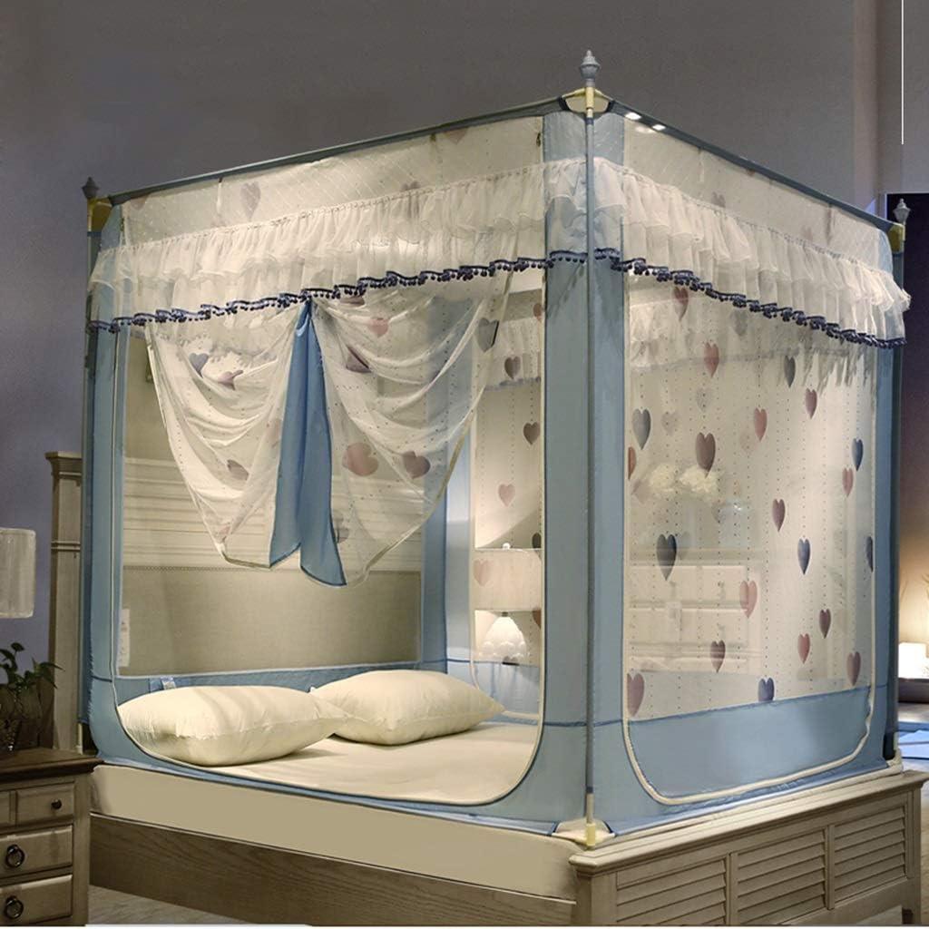 Farbe : Blau , gr/ö/ße : 1.5 m 4 Ecken Pfosten Betthimmel drei T/ür Moskitonetz Zelt Bett Vorh/änge Moskitonetz f/ür M/ädchen Jungen Bett niedlich gem/ütlich drapieren Square Netting Bettw/äsche 5ft