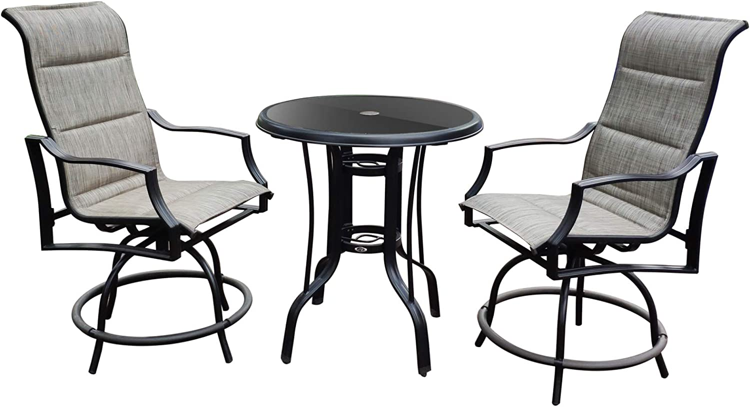 Povkeever 3Pcs Glass Round Bar Table and Textlene Swivel Bar Chair Set for Outdoor Furniture Patio Swivel Bar Set Height Patio Bistro Set and 1 Table, Sets Suitable for Yard,Backyard and Garden