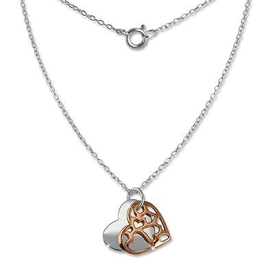 SilberDream Halskette Echt 925 Silber vergoldet 45cm Herz Silber Rose  D1SDK8007E  Amazon.de  Schmuck 699b3dc5b1