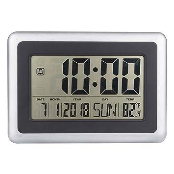 Topker LCD digital de pared grande del termómetro del reloj del calendario de escritorio Medidor de tiempo Alarma electrónica Interiores Temperatura: ...