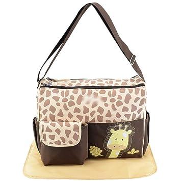 80d4b0b84485 Amazon.com   Cute Mommy Shoulder Bag Crossbody Animal Print Large Maternal  Pack Baby Diaper Replacement Bag Travel Diaper Tote   Baby