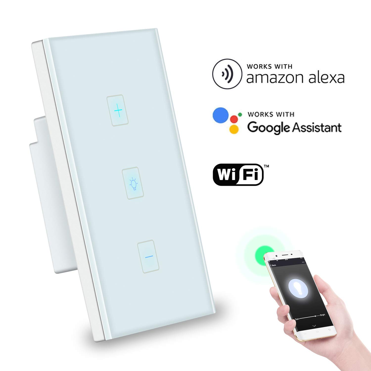 Smart WiFi Dimmer Switch, Gamefun Wireless Light Switch Work with Alexa Google Home IFTTT, 3 in 1 Touch Panel Remote Control Timer Function No Hub Required, Free APP to Control Anywhere