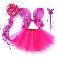 Tante Tina Vlinderkostuum meisjes - 4-delig meisjeskostuum vlinder met tule rok, vleugels, toverstaf en haarkrans…