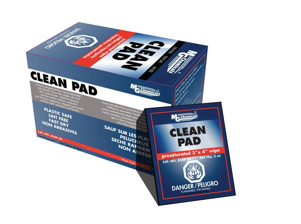 MG Chemicals Presaturated Clean Pad, 4' x 3' Wipes, contains 91% Isopropyl Alcohol, Box of 50 4 x 3 Wipes 824P-50