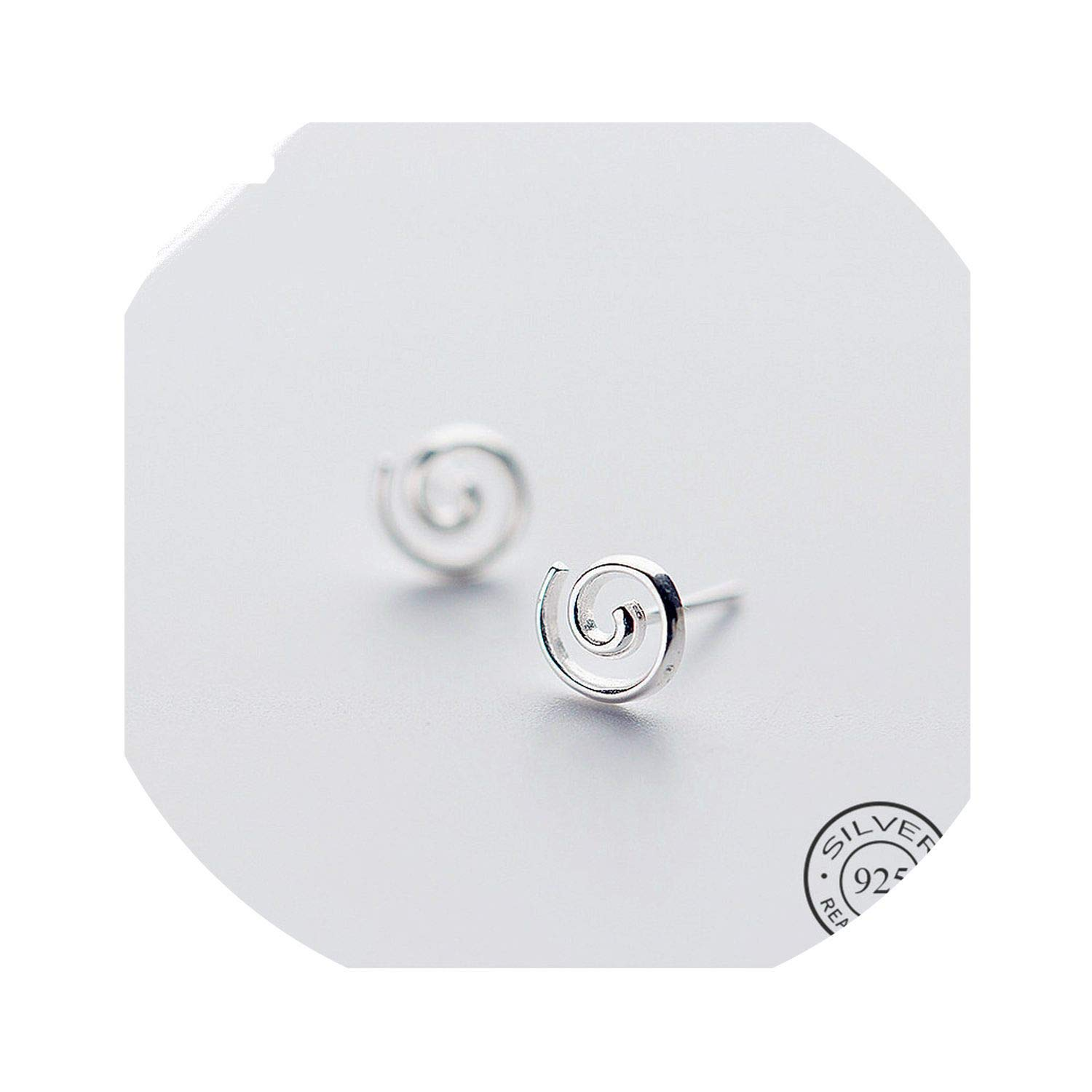 Geometric Spiral Stud Earrings For Women Charm Silver 925 Fashion Jewelry Men Accessories 2019 Gift