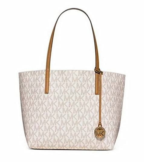 484de0667bfa MICHAEL KORS MK Signature Hayley Logo Large EW Tote Bag in Vanilla:  Amazon.ca: Shoes & Handbags